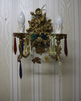 Wandleuchter, Wandlampe, Messing Barock  antik Glas AgEag0303 – Bild 4