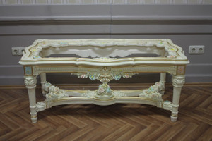 baroque couch  table with glass plate antique style Vp0845/01AC – Bild 2