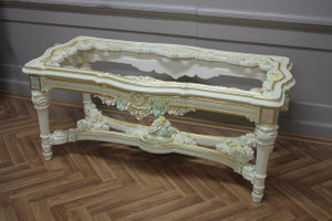 baroque couch  table with glass plate antique style Vp0845/01AC – Bild 1