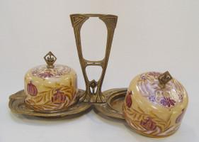 Porzellan Deko 2 Käseplatten mit Bronze