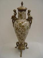 Porzellan Deko Behälter mit Deckel und Bronze