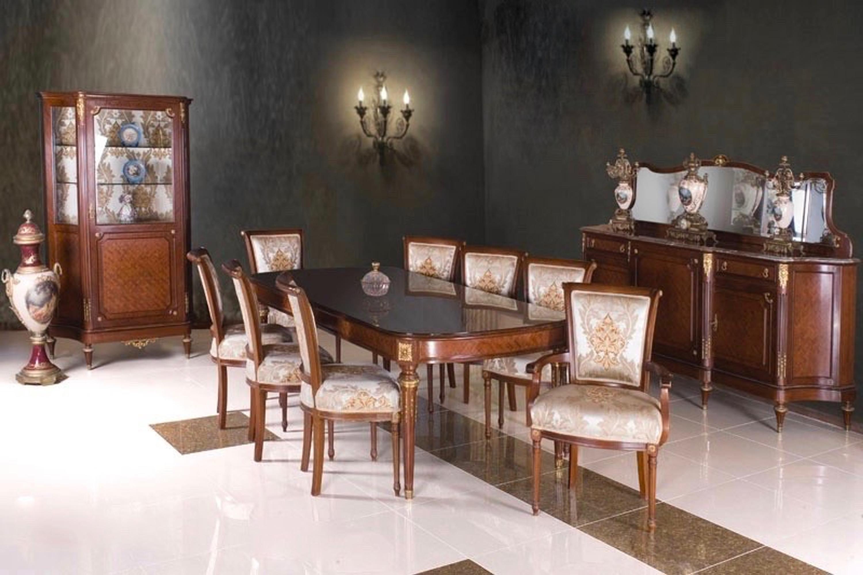 Barock Esszimmer Antik Stil Replikat Vitrine Sideboard Tisch Stühle ...