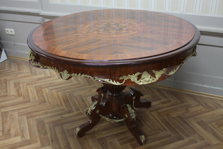 Antik tisch esstisch rund furniert intarsiert 123 123 83 cm for Esstisch marmorplatte