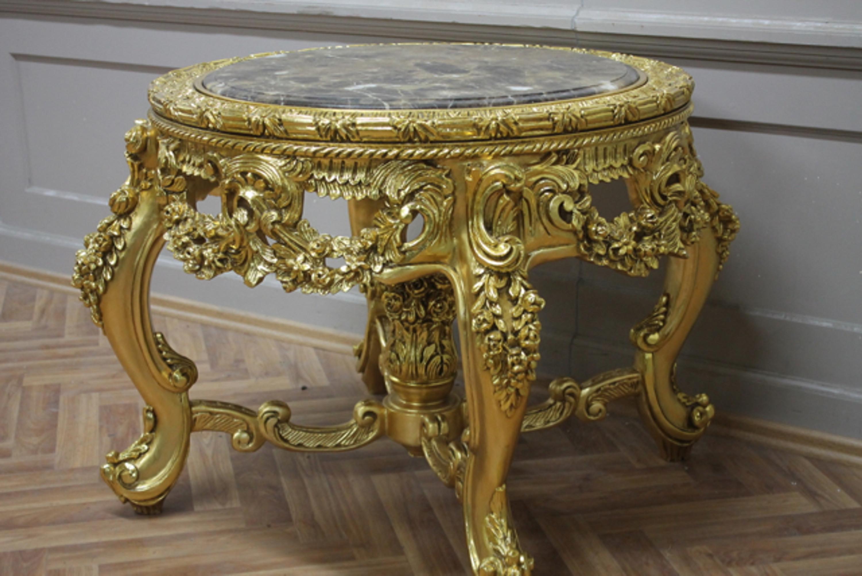Table Baroque En Or Autour De Marbre Style Antique Brun Louis Xv