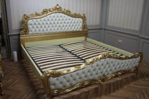 Barock Bett  Doppelbett  180x200 Schlafzimmer Antik Stil VP7713KLeder/Strass-04 168x200 cm – Bild 1