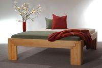Massivholzbett BETA50 Erle metallfrei in Komforthöhe