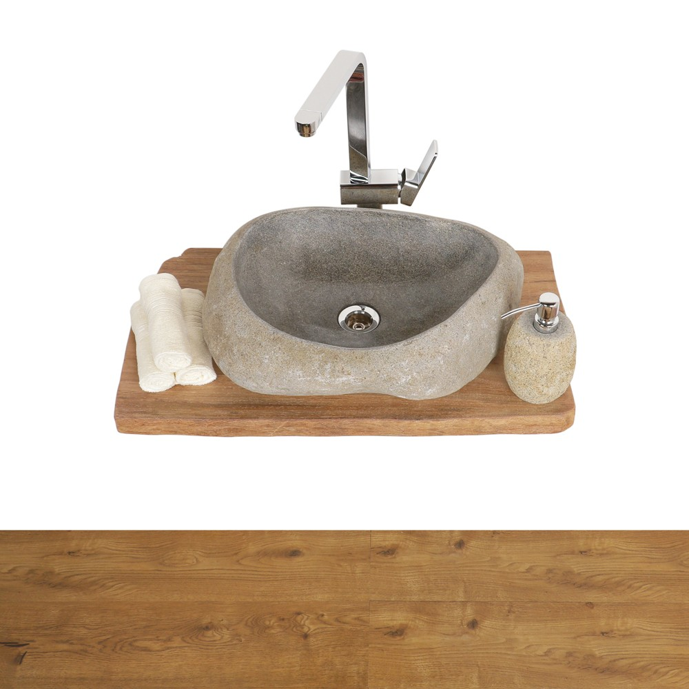 WOHNFREUDEN Teak-Holz Waschtischplatte Waschbecken Unterbau Gr. S 60-80 cm