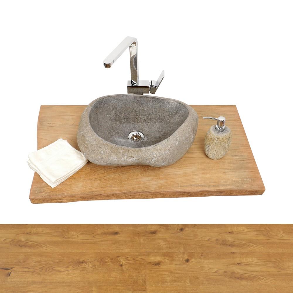 Waschtisch holzplatte teakholz ca 100 bei wohnfreuden kaufen - Holzplatte waschtisch ...