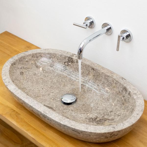 Marmor Waschbecken Mara oval poliert grau 70x40x13 cm