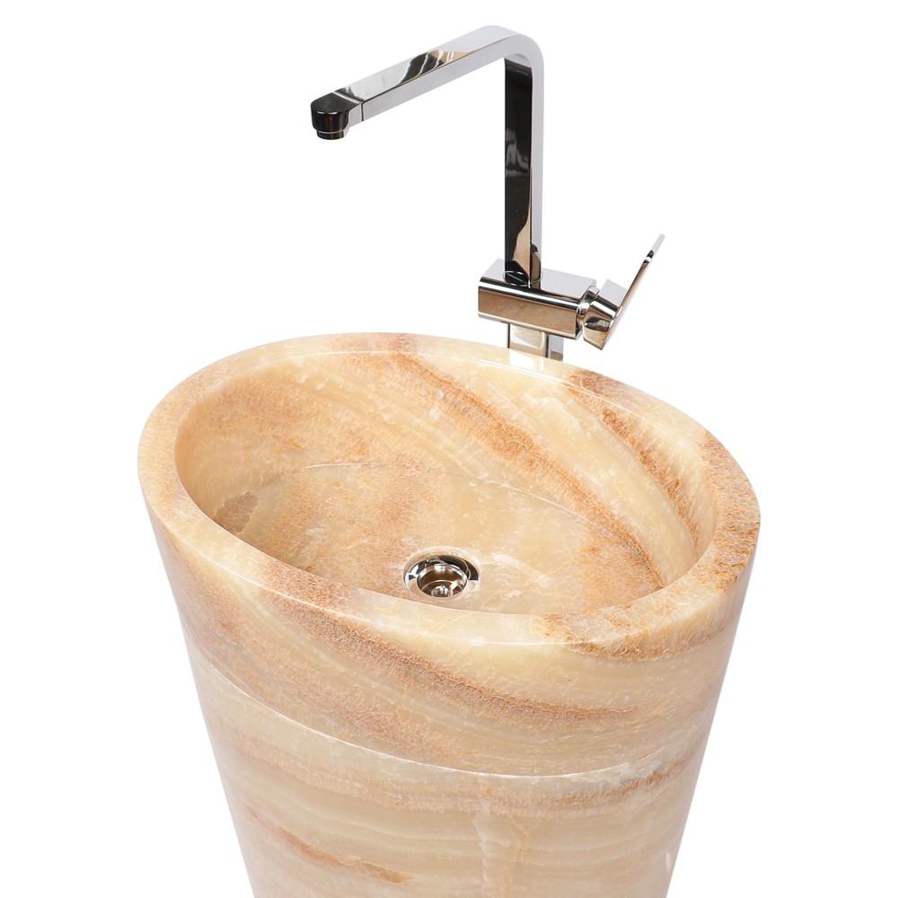WOHNFREUDEN Onyx Marmor Waschtischsäule Halbsäule Standwaschbecken 50x35x90 cm