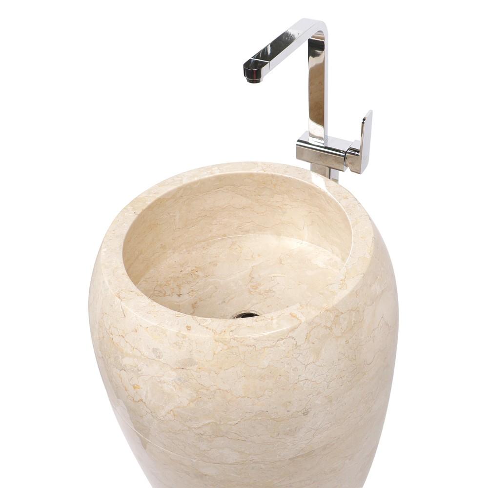 WOHNFREUDEN Naturstein Marmor Waschtischsäule 50x50x90 cm creme Halbsäule