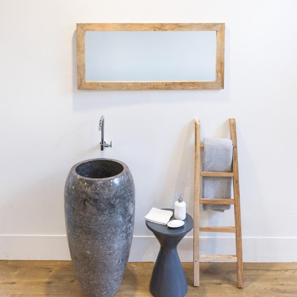 WOHNFREUDEN Naturstein Marmor grau 50x50x90 cm Waschtischsäule Standwaschbecken
