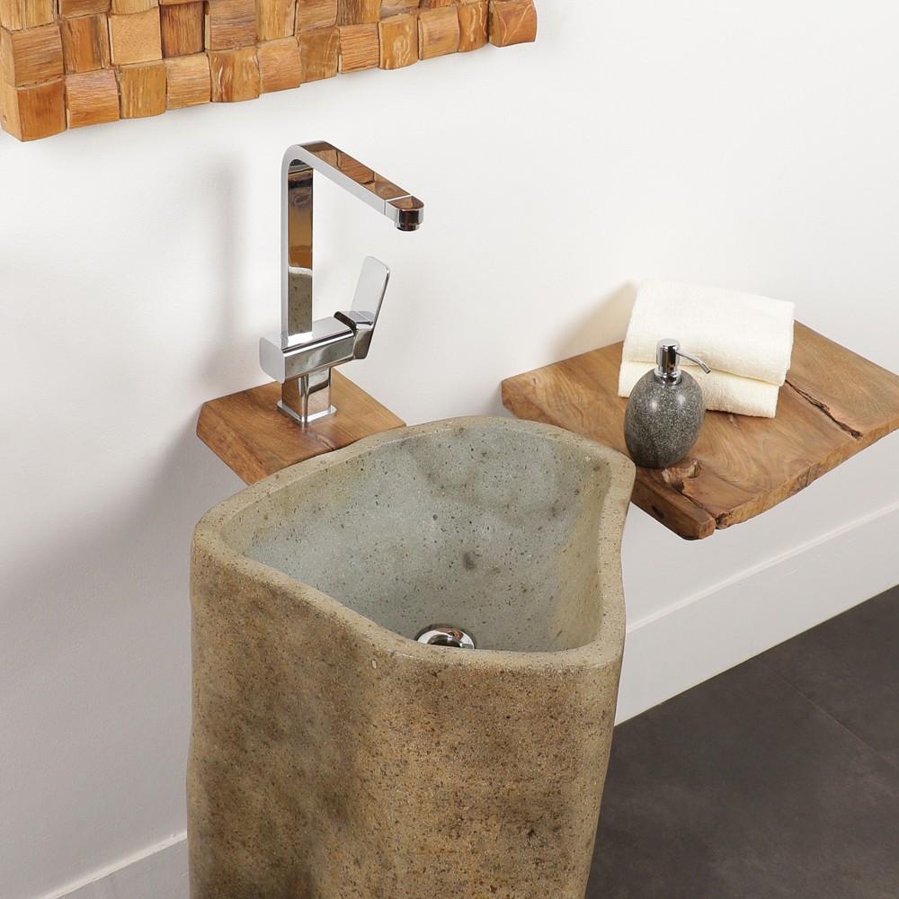 WOHNFREUDEN Naturstein Waschtischsäule 70x70x85 cm Halbsäule Standwaschbecken