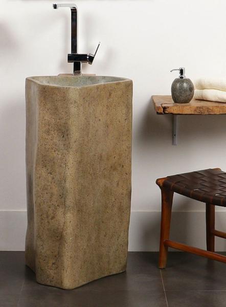 Flußstein Waschtischsäule poliert 70x70x85 cm