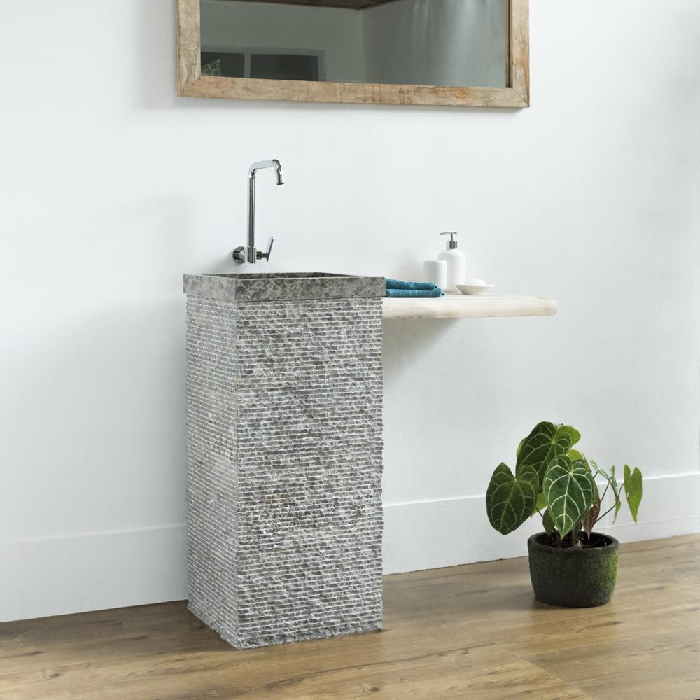 WOHNFREUDEN Naturstein Marmor Waschtischsäule 40x40x90 cm grau Standwaschbecken