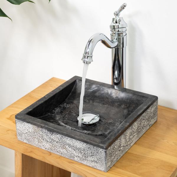 Marmor - Waschbecken MINI Perahu schwarz gehämmert 30x30x8 cm