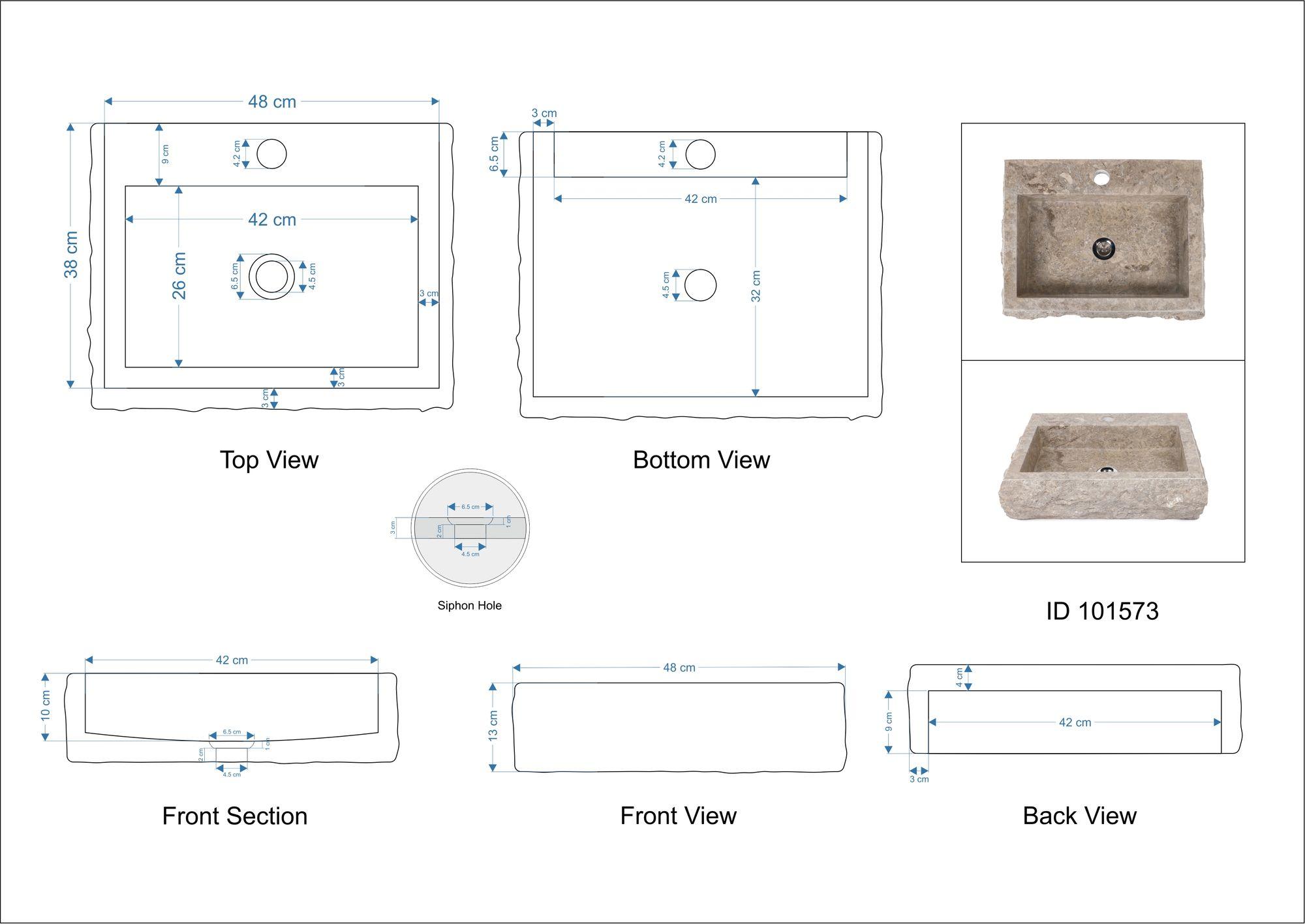 WOHNFREUDEN Marmor Naturstein-Waschbecken  48x38x12cm grau eckig Stein Gäste WC