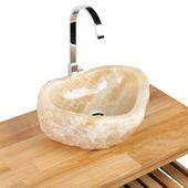 WOHNFREUDEN Onyx Steinwaschbecken 44x40x15 cm Natur Marmor Waschbecken Bad Gäste WC