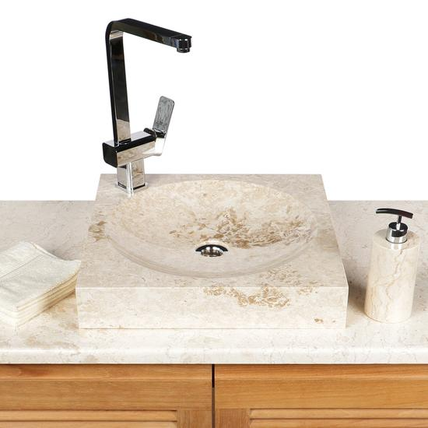 Waschbecken aus Marmor creme 45 cm eckig Tumba