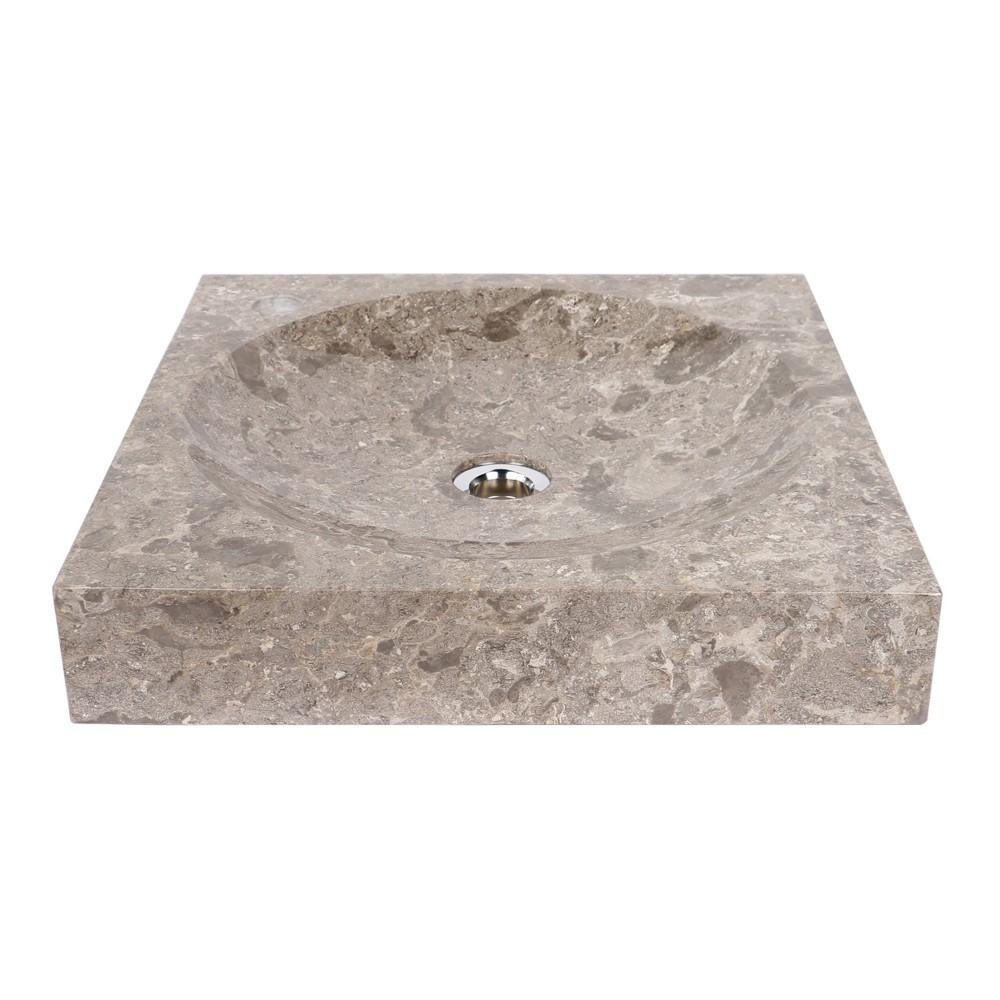 marmor waschbecken tumba grau eckig 45 cm bei wohnfreuden kaufen. Black Bedroom Furniture Sets. Home Design Ideas