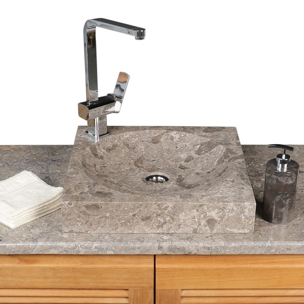 WOHNFREUDEN Marmor Naturstein-Waschbecken TUMBA 45 cm grau Stein Bad Gäste WC