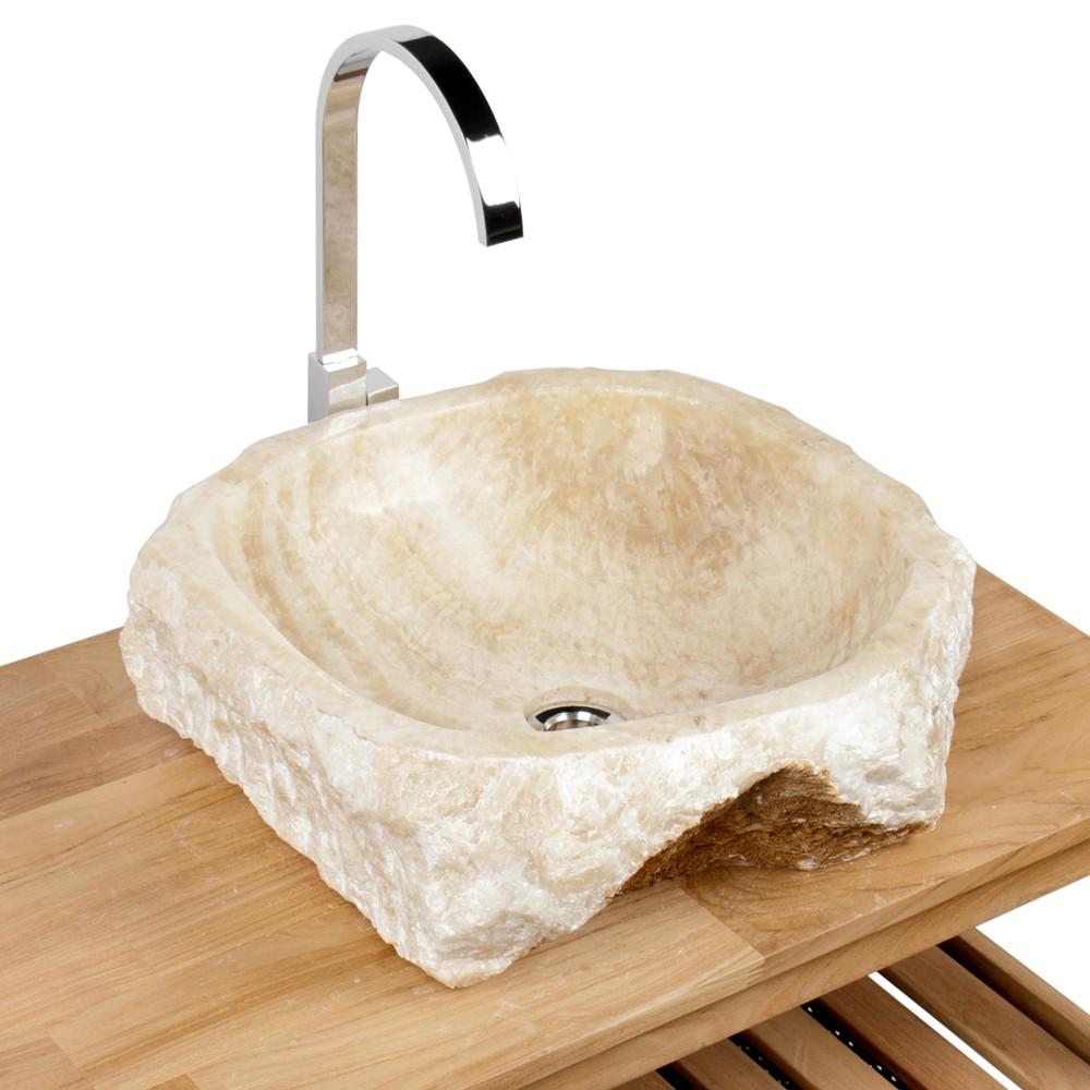 WOHNFREUDEN Onyx Steinwaschbecken 44x46x16 cm rund Marmor Waschbecken Bad Gäste WC