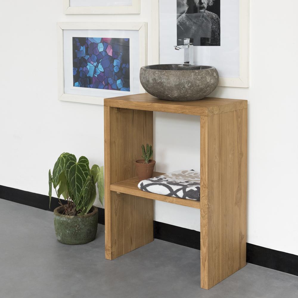 WOHNFREUDEN Waschtisch Teak-Holz Anja 60x35x80 cm lasiert natur
