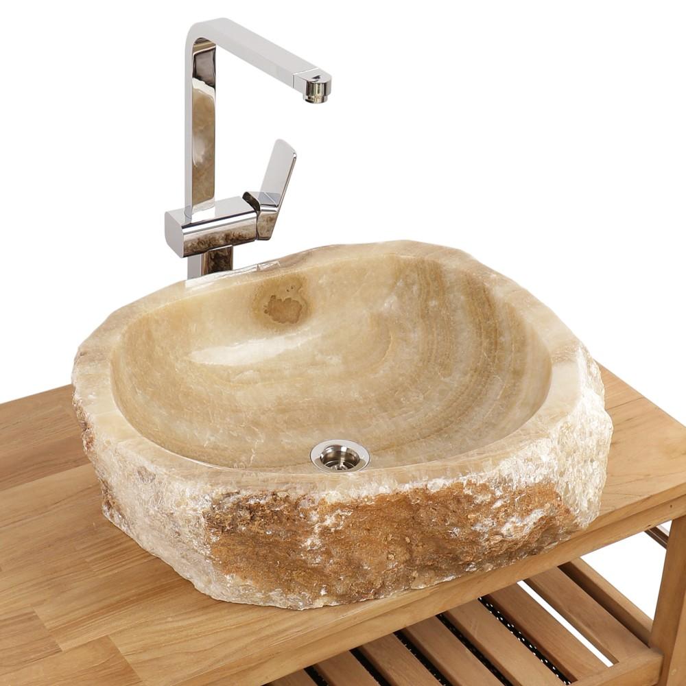 WOHNFREUDEN Onyx Steinwaschbecken 56x60x15 cm rund Marmor Waschbecken Bad Gäste WC