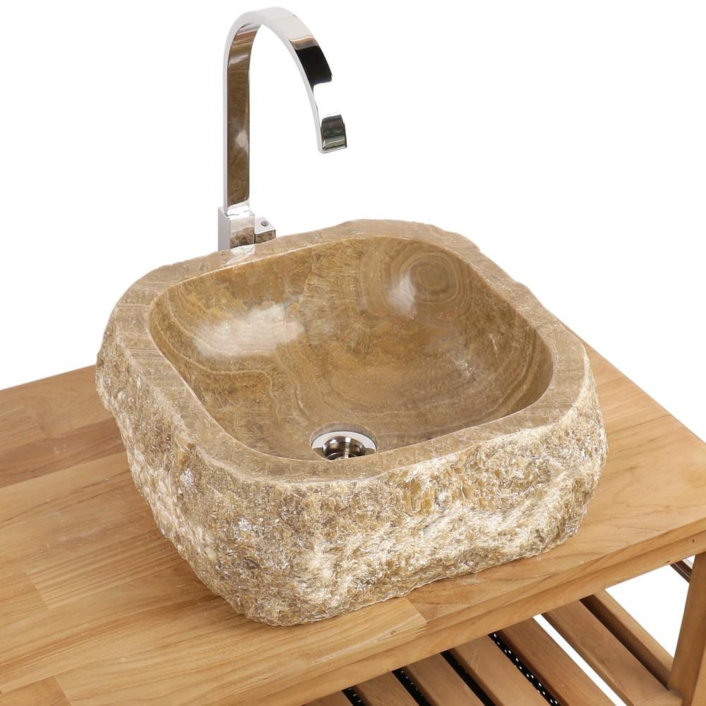 wohnfreuden onyx stein waschbecken 41x42x15 cm rund. Black Bedroom Furniture Sets. Home Design Ideas