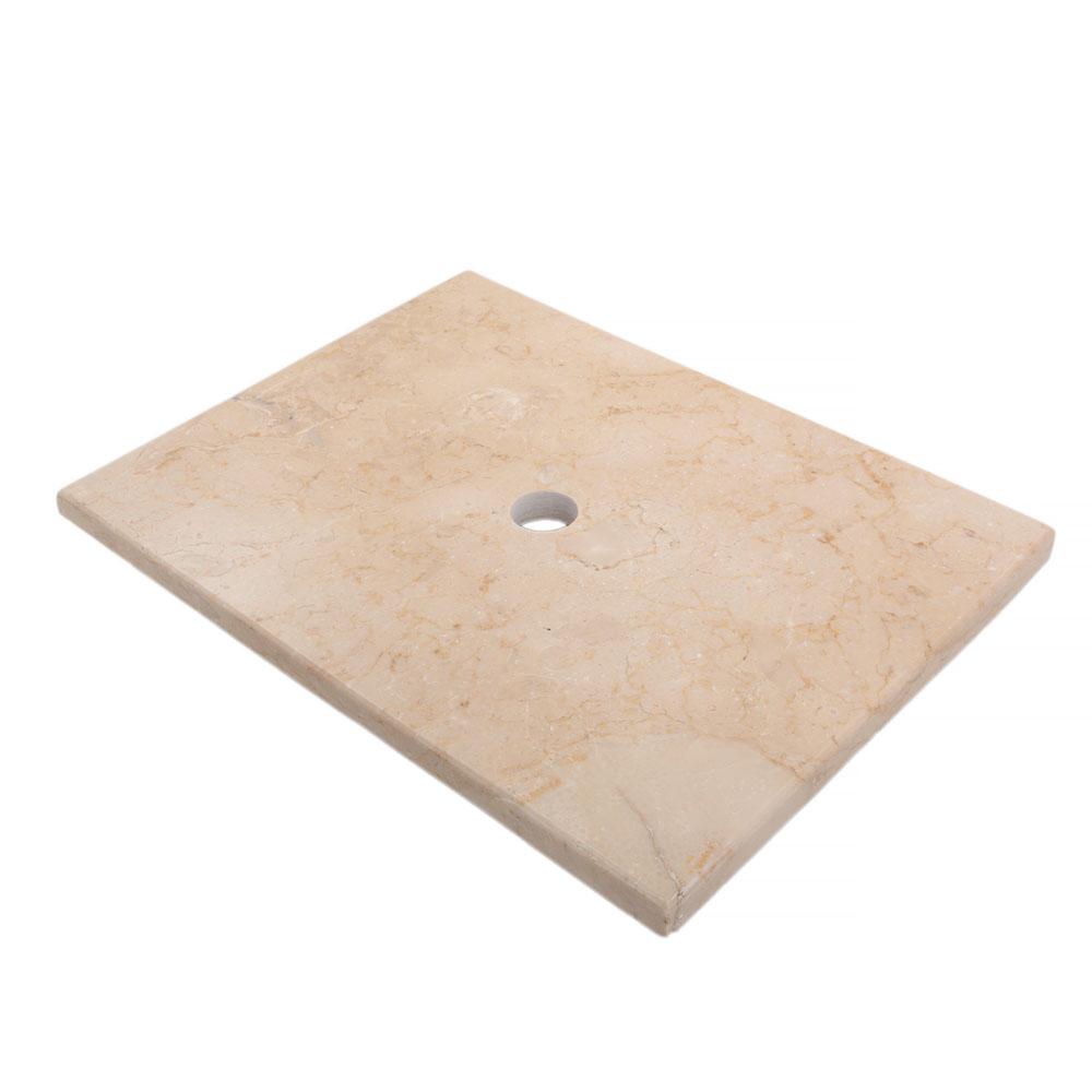 WOHNFREUDEN Marmor Waschtisch-platte zu Kathrin creme 60x45x3 cm Teak Waschtisch