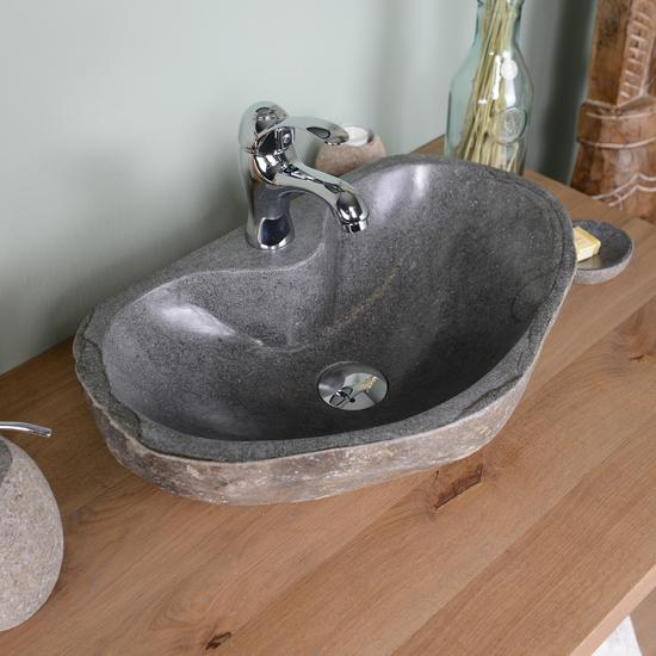 Naturstein Waschbecken 50 cm oval mit Hahnloch