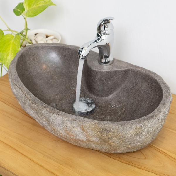 Naturstein-Waschbecken 40 oval mit Hahnloch