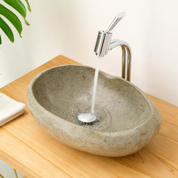 Steinwaschbecken mit Naturkante rundum poliert 40-50 cm OVAL