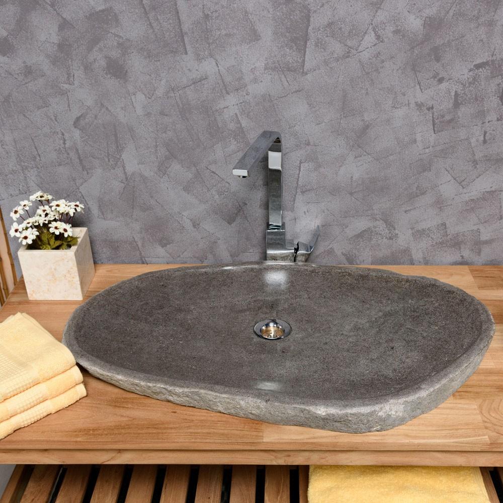 WOHNFREUDEN Naturstein Waschbecken extraflach 70-80 cm OVAL Bad Gäste WC
