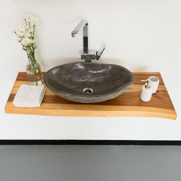 Teak Waschtischplatte Gr. L lasiert 100x50x4cm