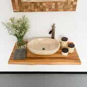 WOHNFREUDEN Suar Waschtischplatte Massive Holzplatte Holzunterschrank L 100 cm