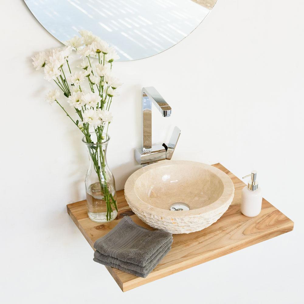 WOHNFREUDEN Teak Holz Waschtischplatte Gr. S 50 cm Unterschrank Waschbecken