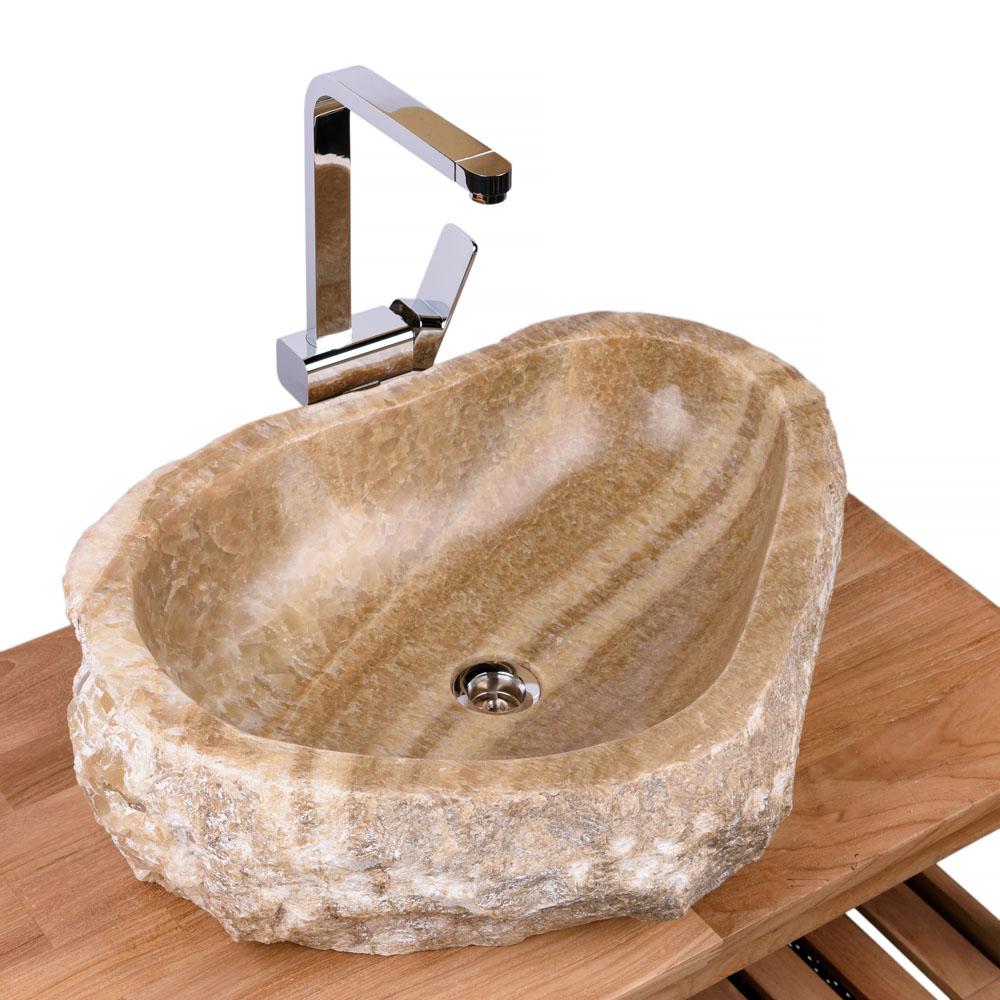 WOHNFREUDEN Onyx Natur Steinwaschbecken  63x47x15 cm Waschbecken Bad Gäste WC