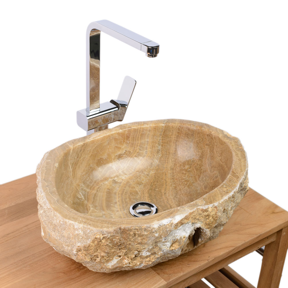 WOHNFREUDEN Onyx Steinwaschbecken 54x41x15 cm oval Marmor Waschbecken Gäste WC