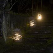 Flußstein Gartenleuchte M 30x30x50 Stein Leuchte Boden-Lampe Außenbereich Garten