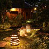 WOHNFREUDEN Marmor Leuchte Garten S 25x25x40cm  wohnen Licht Lampe Aussenbeleuchtung natur