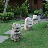 WOHNFREUDEN Marmor Leuchte Garten L 35x30x60 cm Licht Lampe Aussen-Beleuchtung