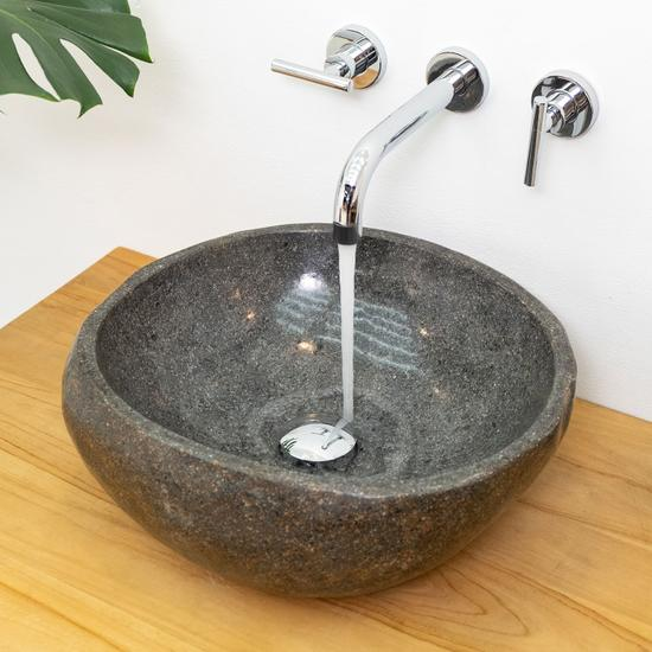 Naturstein Waschbecken 40 cm rund aussen poliert