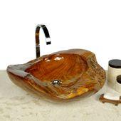 Holz - Waschbecken von WOHNFREUDEN | Holzwaschbecken ca 45 cm lasiert Teakholz