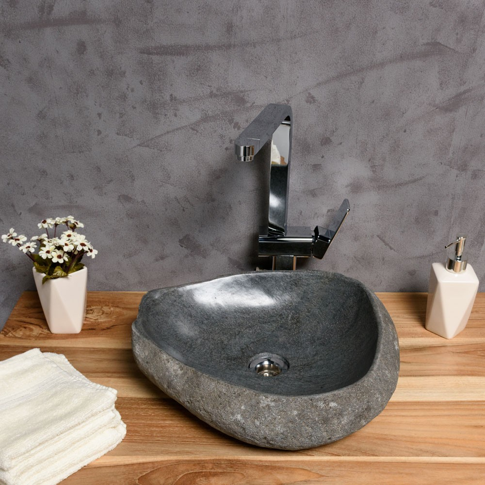WOHNFREUDEN Naturstein Waschbecken 40-50 cm Naturkante Bad Gäste WC