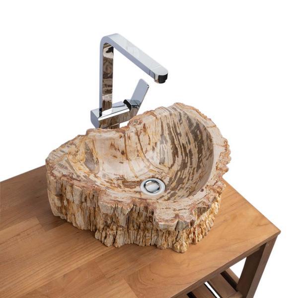 Waschbecken fossiles Holz 45x34x14 cm