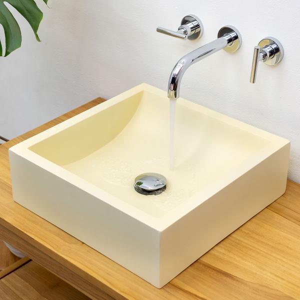 Terrazzo Waschbecken TMO04 40 cm poliert creme