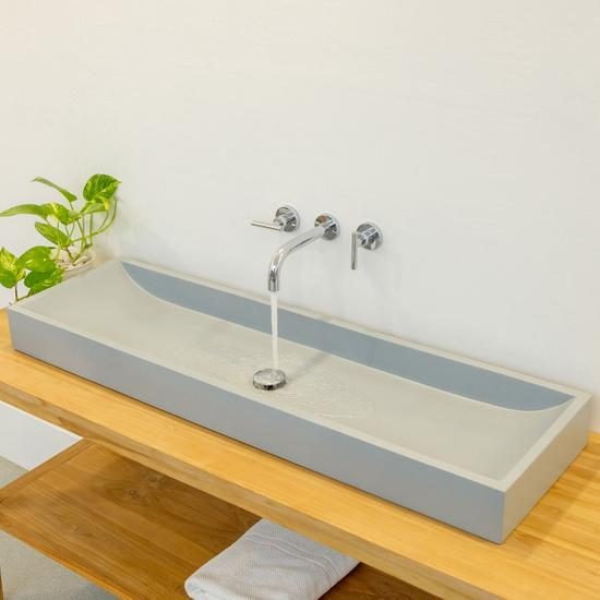 Terrazzo Waschbecken 120x35 cm grau