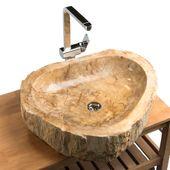 Waschbecken fossiles Holz 63x54x15 cm innen poliert Bild 1