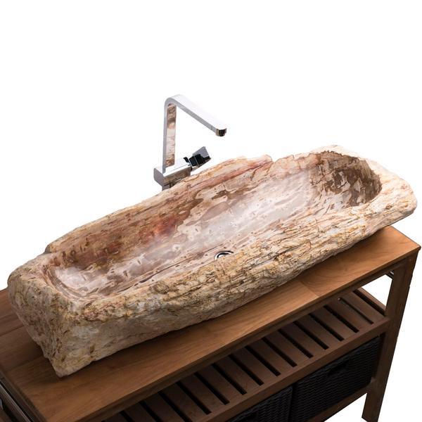 Waschbecken aus fossilem Holz 107x42x19cm innen poliert